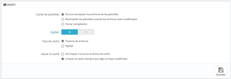 Optimización caché plantillas - Prestashop
